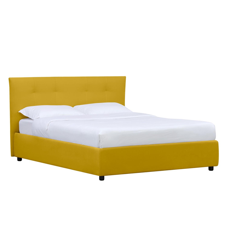 goedkoop Gestoffeerd bed Tiberio inclusief opbergruimte 180 x 200cm Stof Valona Mosterdgeel Maison Belfort