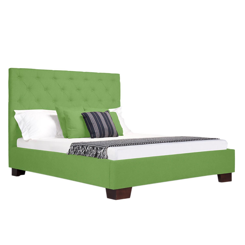 goedkoop Gestoffeerd bed Tilia I geweven stof 140 x 200cm Hoekige voet Stof Floreana Groen Fredriks