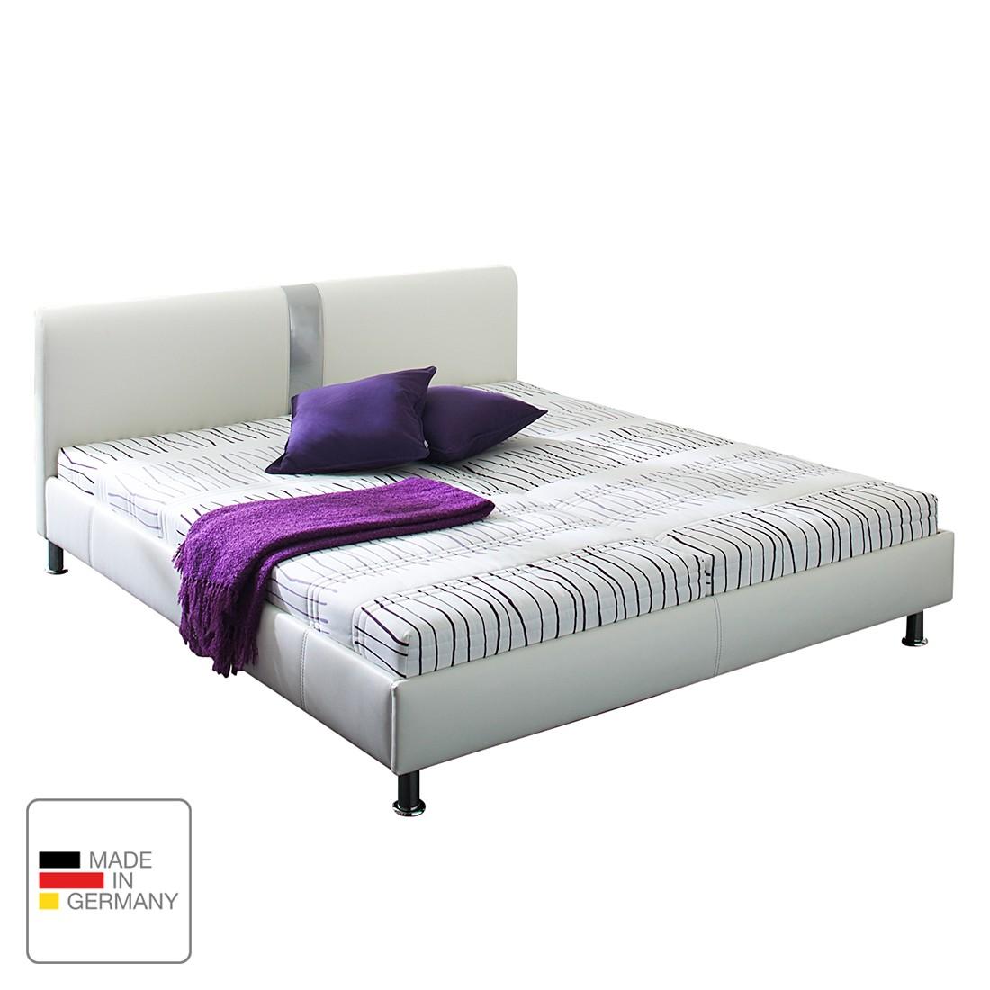 Lit capitonné Umea - Imitation cuir - 140 x 200cm - Sans matelas - Structure de lit sans sommier à lattes - Blanc, mooved