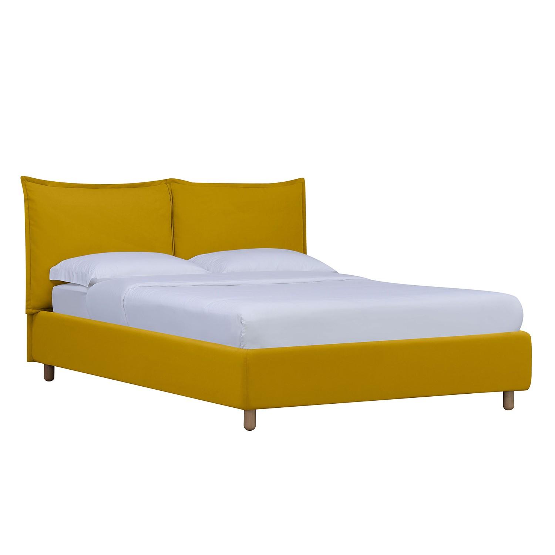 goedkoop Gestoffeerd bed Versa I 90 x 200cm Met bedlade Natuurlijk beukenhout Stof Valona Mosterdgeel Studio Copenhagen