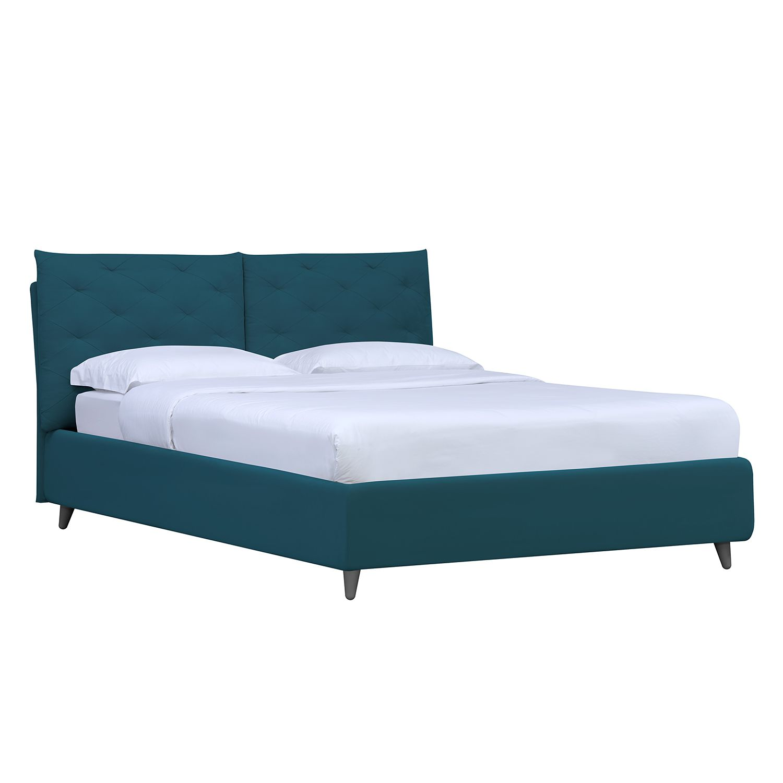 goedkoop Gestoffeerd bed Versa II 140 x 200cm Geen bedlade Grijs Stof Valona Petrolblauw Studio Copenhagen