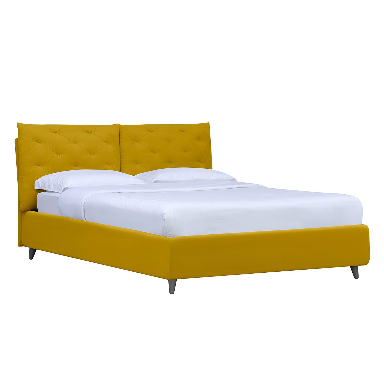 goedkoop Gestoffeerd bed Versa II 140 x 200cm Met bedlade Grijs Stof Valona Mosterdgeel Studio Copenhagen