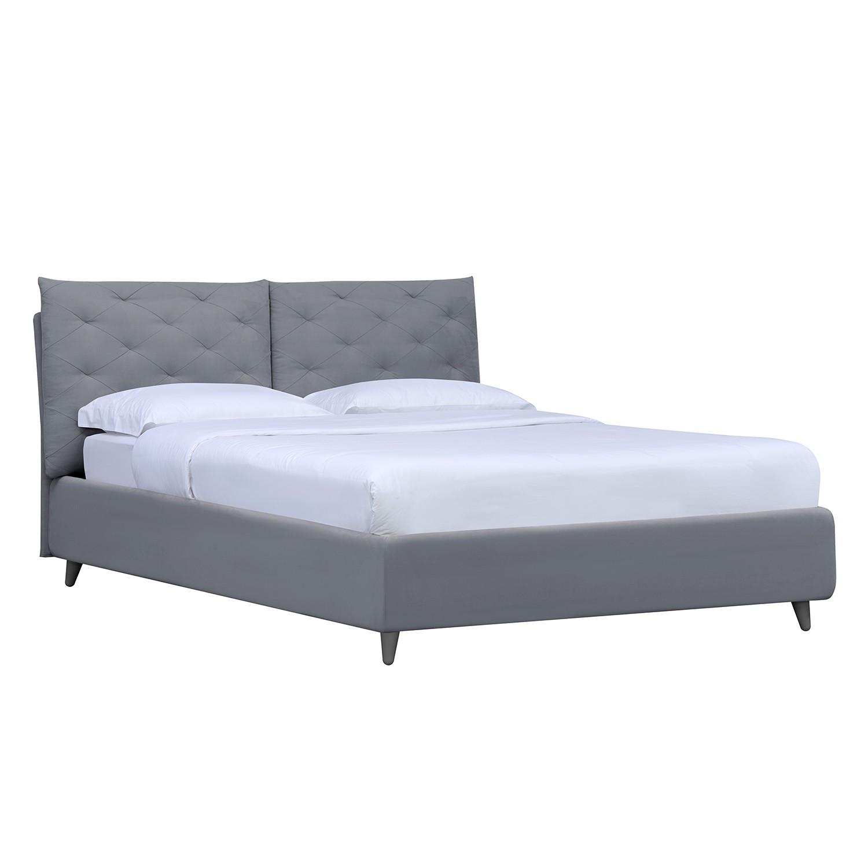 Polsterbett Versa II - 90 x 200cm - Stoff Valona: Silber - Grau - Kein Bettkasten