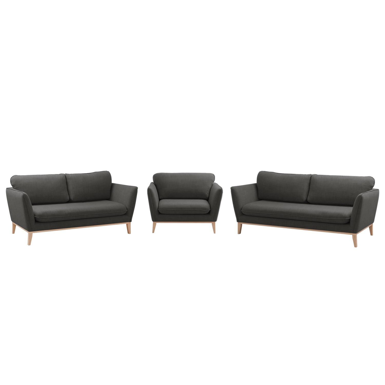 goedkoop Bankstellen Argoon 3zitsbank & 2zitsbank fauteuil geweven stof Licht antracietkleurig Morteens