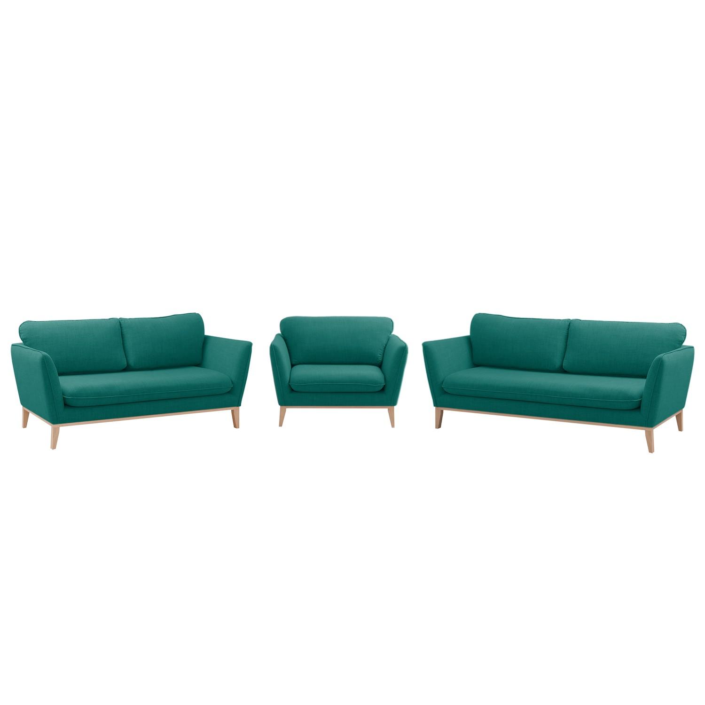 goedkoop Bankstellen Argoon 3zitsbank & 2zitsbank fauteuil geweven stof Petrolblauw Morteens