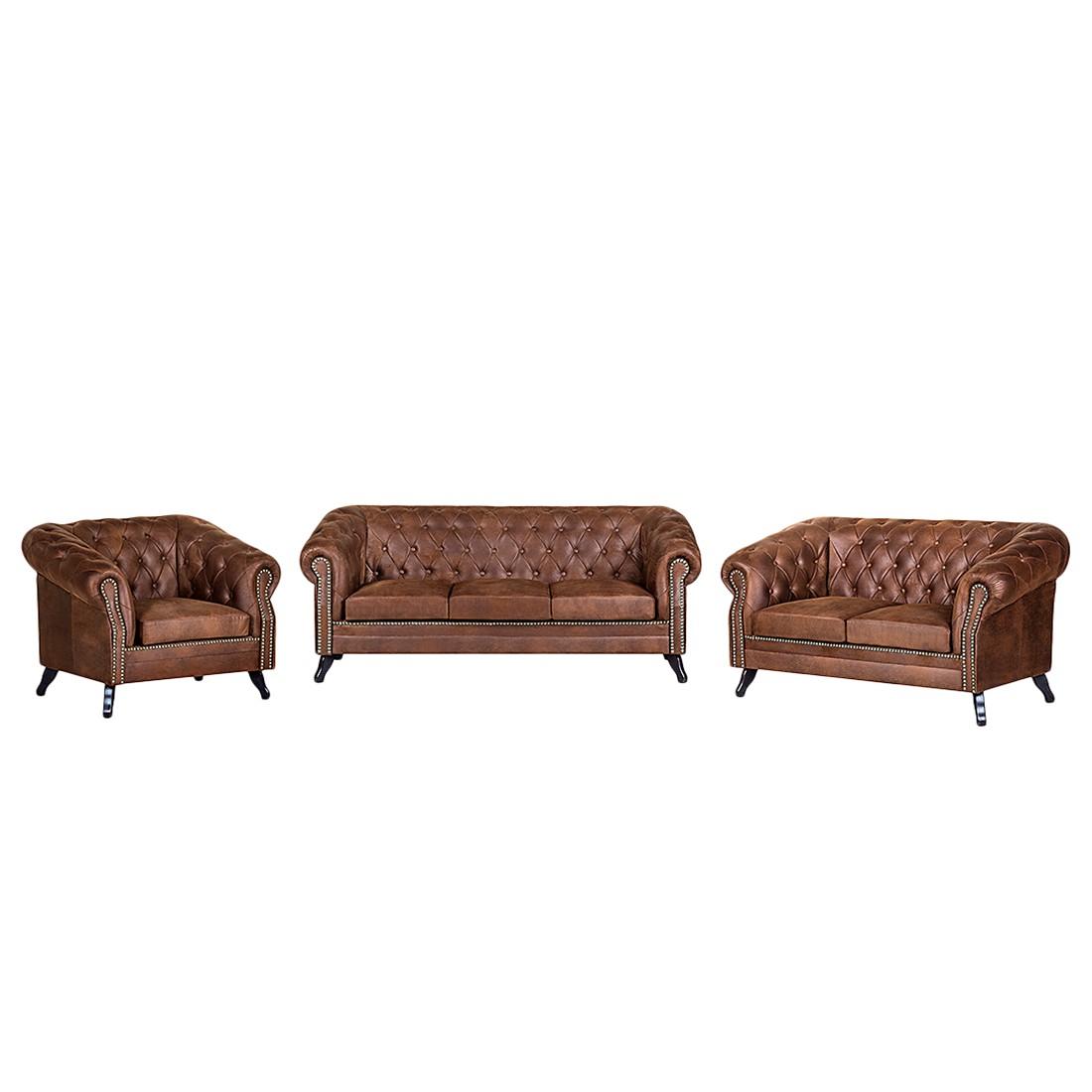 goedkoop Gestoffeerde meubelset Benavente 3zitsbank 2zitsbank en fauteuil bruine antiek leren look ars manufacti