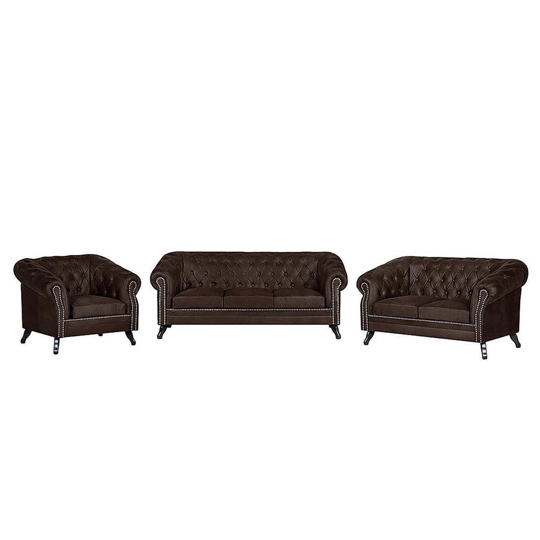 goedkoop Gestoffeerde meubelset Benavente 3zitsbank 2zitsbank en fauteuil donkerbruine antiek leren look ars manufacti