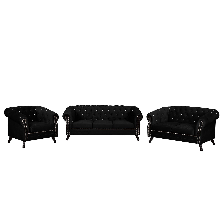 goedkoop Bankstellen Benavente I 3zitsbank 2zitsbank fauteuil microvezel Zwart Jack and Alice