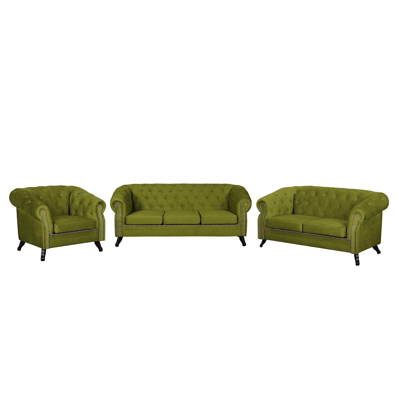 goedkoop Bankstellen Benavente II 3zitsbank 2zitsbank fauteuil microvezel Grasgroen Jack and Alice