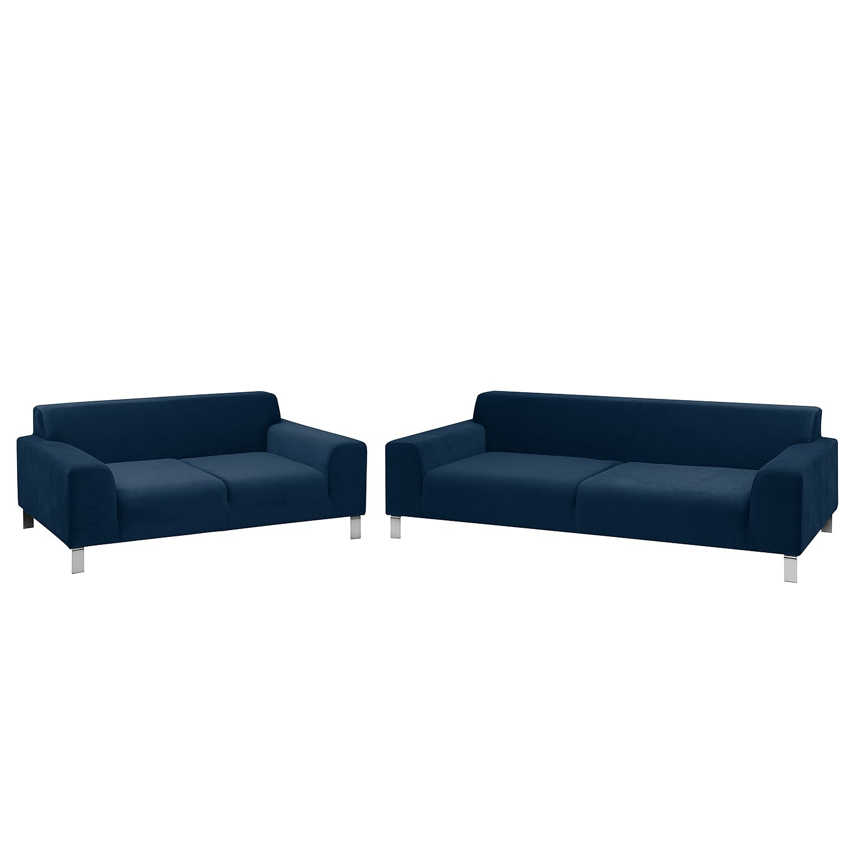 home24 Polstergarnitur Bordon (3-2) Samt | Wohnzimmer | Blau | Textil | Fredriks