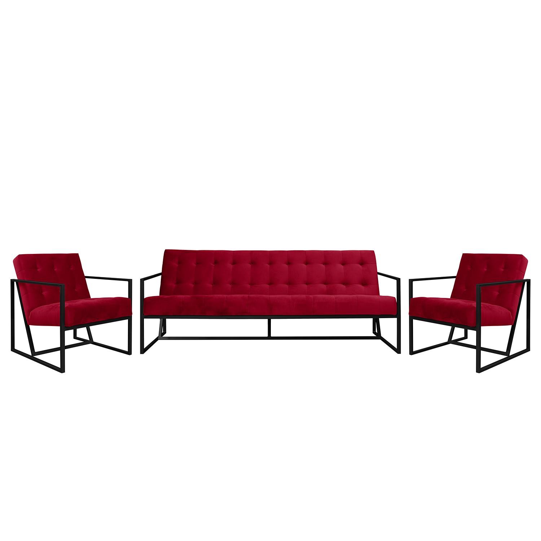 goedkoop Bankstellen Charm I microvezel 3zitsbank fauteuil fauteuil Kersenrood Jack and Alice