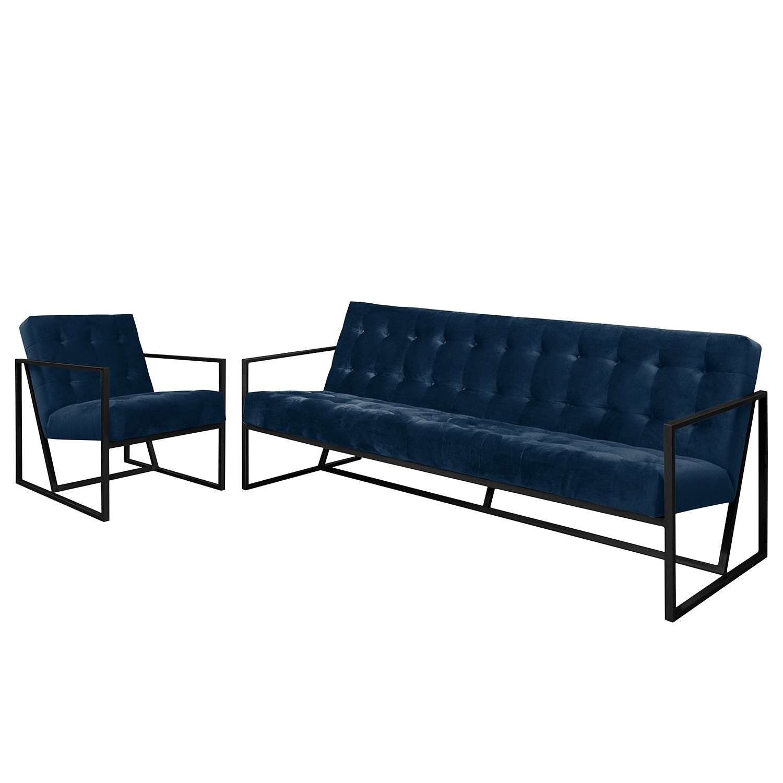 goedkoop Bankstellen Charm I microvezel 3zitsbank fauteuil Marineblauw Jack and Alice