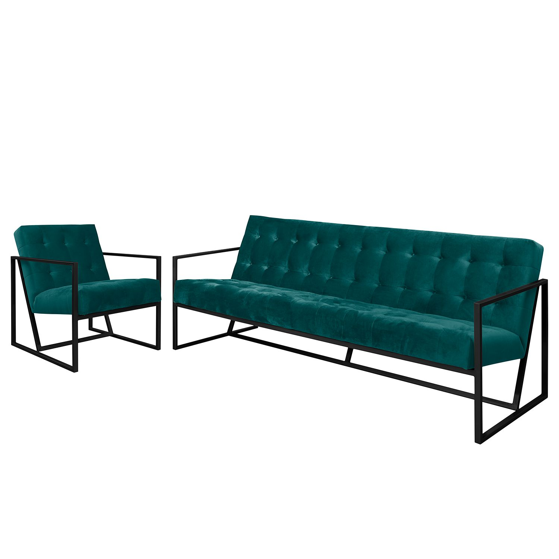 goedkoop Bankstellen Charm I microvezel 3zitsbank fauteuil Petrolblauw Jack and Alice