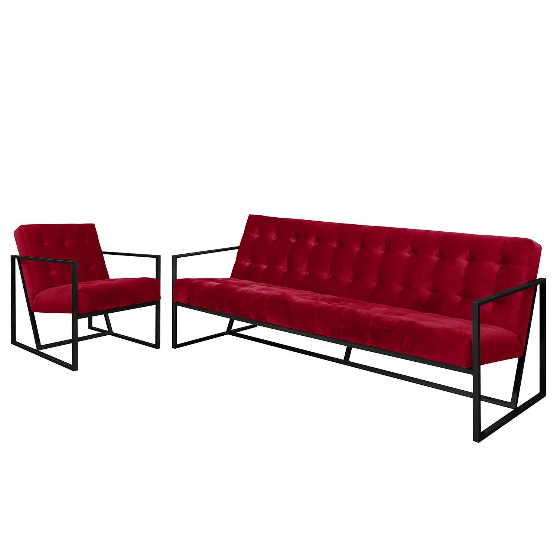 goedkoop Bankstellen Charm I microvezel 3zitsbank fauteuil Kersenrood Jack and Alice