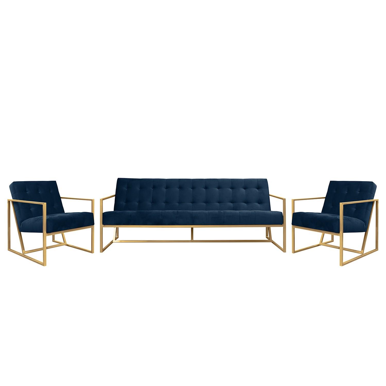 goedkoop Bankstellen Charm II microvezel 3zitsbank fauteuil fauteuil Marineblauw Jack and Alice