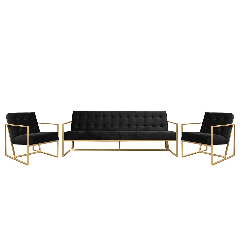 goedkoop Bankstellen Charm II microvezel 3zitsbank fauteuil fauteuil Zwart Jack and Alice