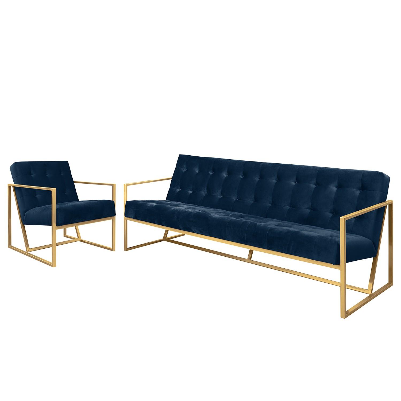 goedkoop Bankstellen Charm II microvezel 3zitsbank fauteuil Marineblauw Jack and Alice