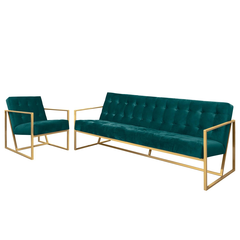 goedkoop Bankstellen Charm II microvezel 3zitsbank fauteuil Petrolblauw Jack and Alice