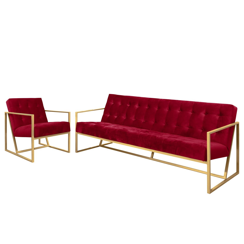 goedkoop Bankstellen Charm II microvezel 3zitsbank fauteuil Kersenrood Jack and Alice