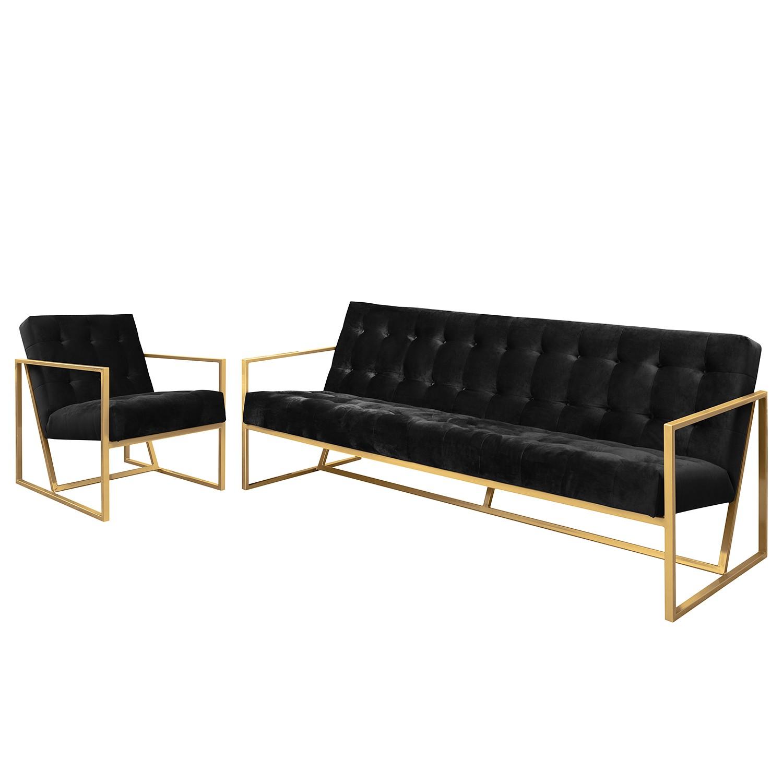 goedkoop Bankstellen Charm II microvezel 3zitsbank fauteuil Zwart Jack and Alice
