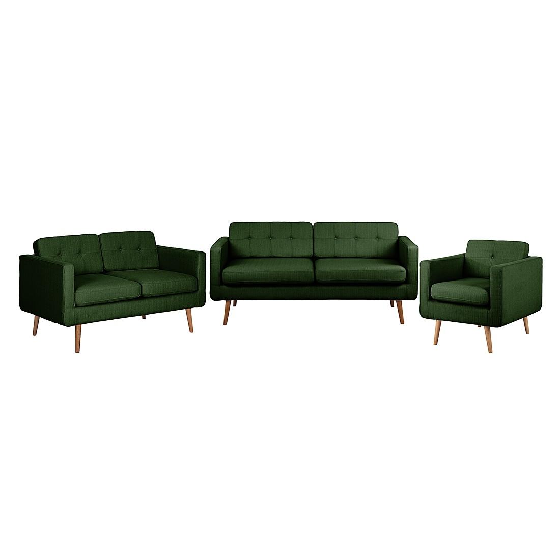 goedkoop Bankstellen Croom I 3zitsbank 2zitsbank en fauteuil geweven stof Groen Morteens