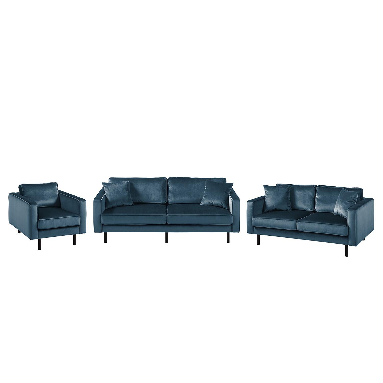 goedkoop Bankstellen Edina 3zitsbank 2zitsbank fauteuil fluweel Donkerblauw Eva Padberg Collection