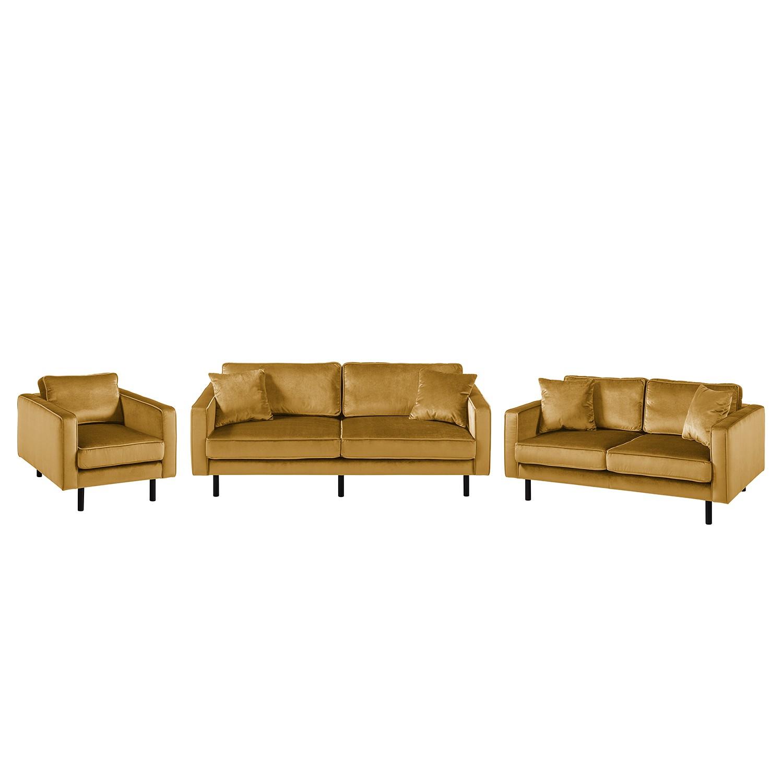 goedkoop Bankstellen Edina 3zitsbank 2zitsbank fauteuil fluweel Honingkleurig Eva Padberg Collection