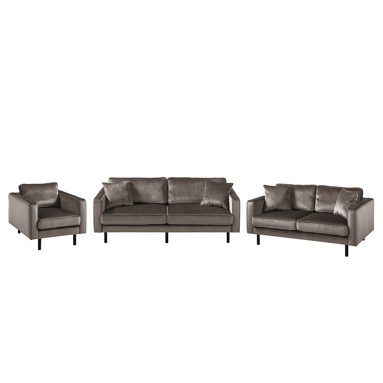 goedkoop Bankstellen Edina 3zitsbank 2zitsbank fauteuil fluweel Nootmuskaat Eva Padberg Collection