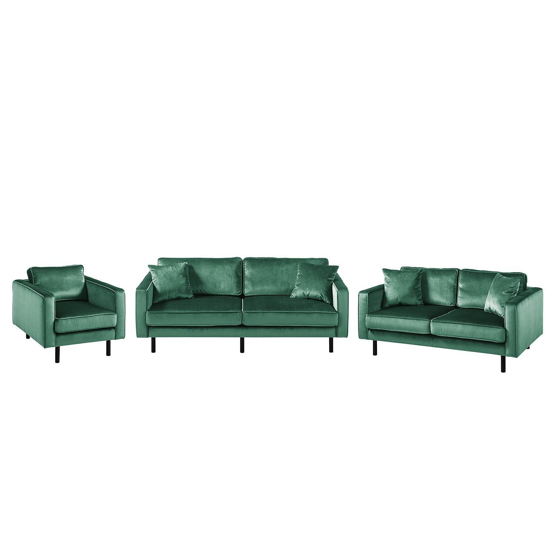 goedkoop Bankstellen Edina 3zitsbank 2zitsbank fauteuil fluweel Zeegroen Eva Padberg Collection