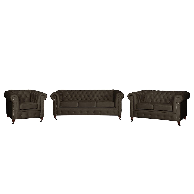 goedkoop Bankstellen Esplanada 3zitsbank 2zitsbank fauteuil fluweel Bizonbruin Jack and Alice