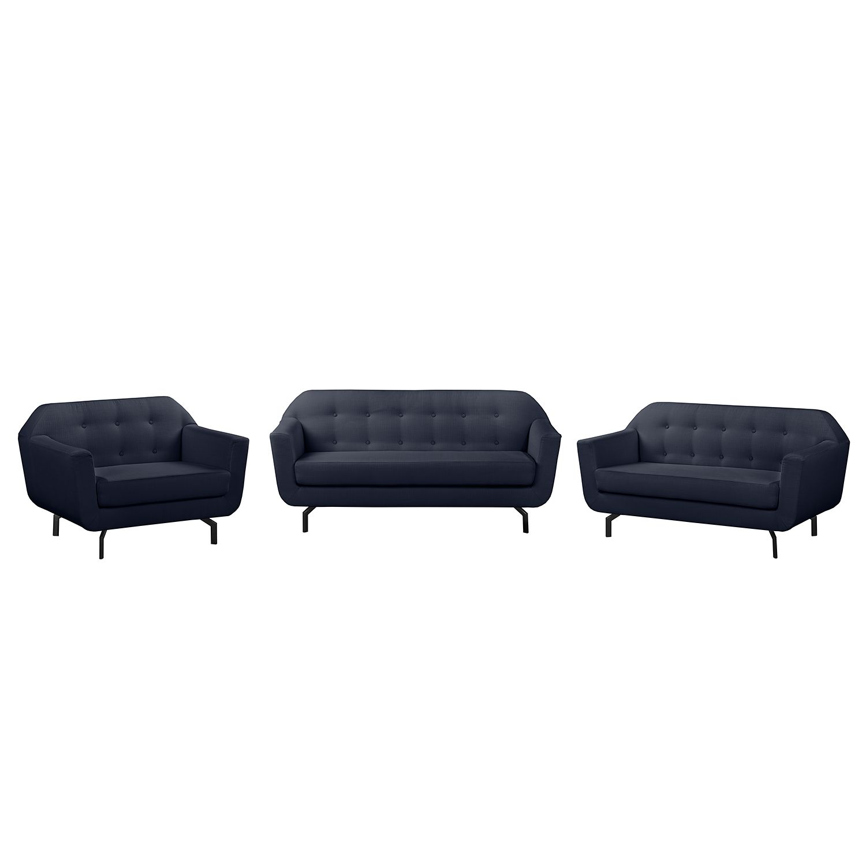 goedkoop Bankstellen Giarra 3zitsbank 2zitsbank fauteuil structuurstof Donkerblauw Morteens