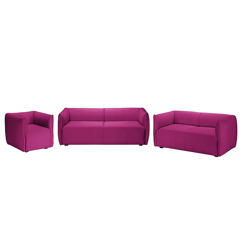 goedkoop Bankstellen Grady I 3zitsbank 2zitsbank fauteuil geweven stof Fuchsia Fredriks