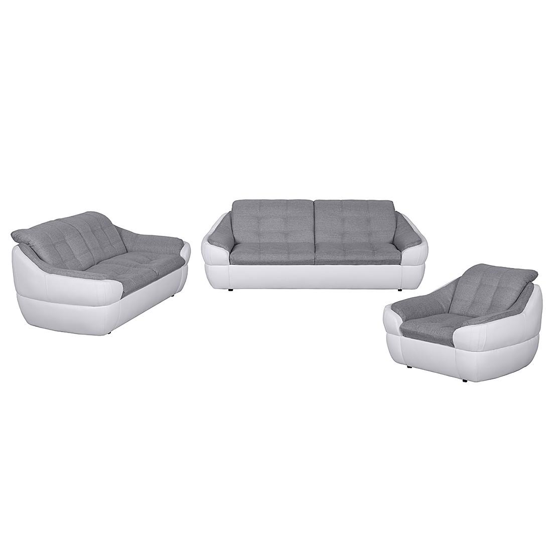 goedkoop Meubelset Gramat 321 kunstleer witte structuurstof grijs roomscape