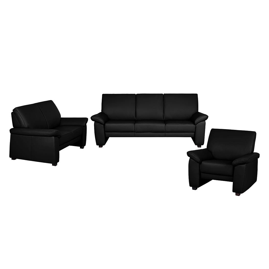 goedkoop Bankenset Grimsby 3zitsbank 2zitsbank en fauteuil zwart echt leer Nuovoform