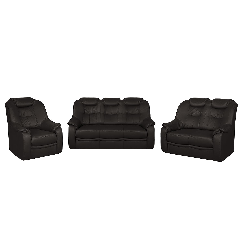 goedkoop Bankstellen Lakin 3zitsbank 2zitsbank en fauteuil kunstleer donkerbruin Nuovoform
