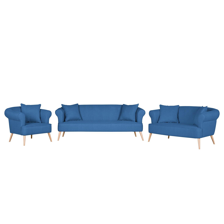 goedkoop Bankstellen Lilou 3zitsbank 2zitsbank en fauteuil geweven stof Zeeblauw Morteens