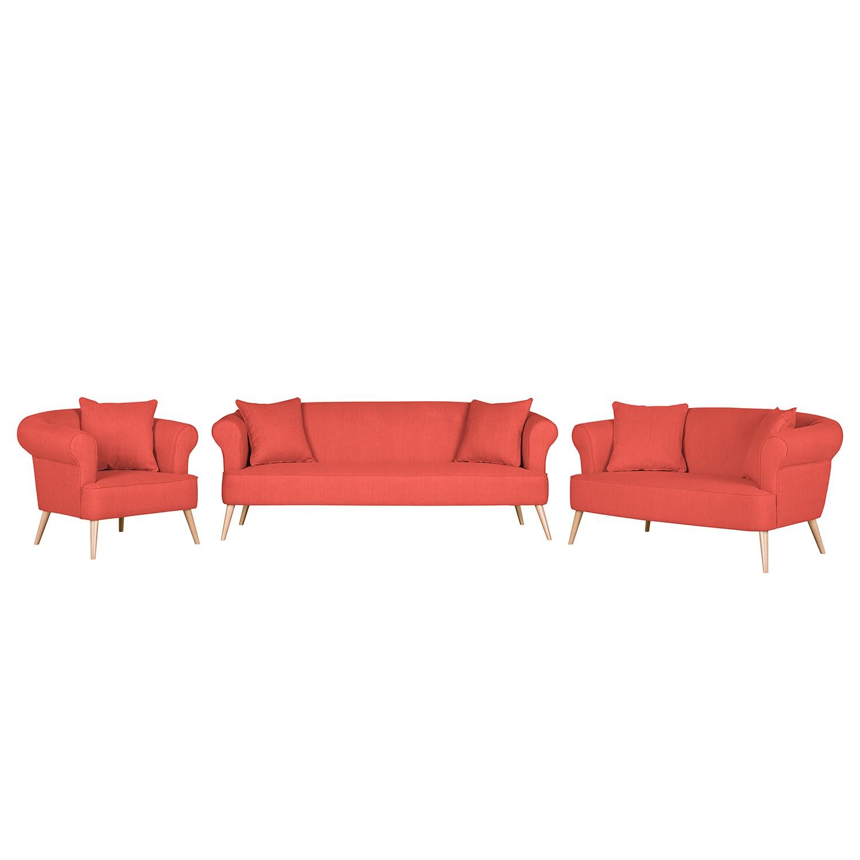 goedkoop Bankstellen Lilou 3zitsbank 2zitsbank en fauteuil geweven stof Rood Morteens