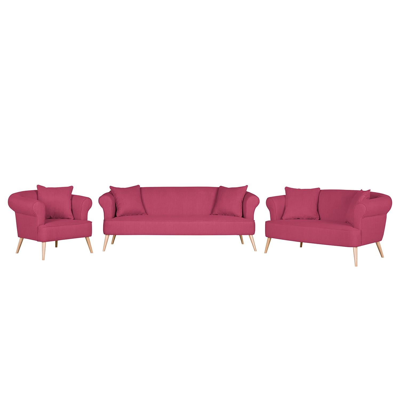 goedkoop Bankstellen Lilou 3zitsbank 2zitsbank en fauteuil geweven stof Wijnrood Morteens