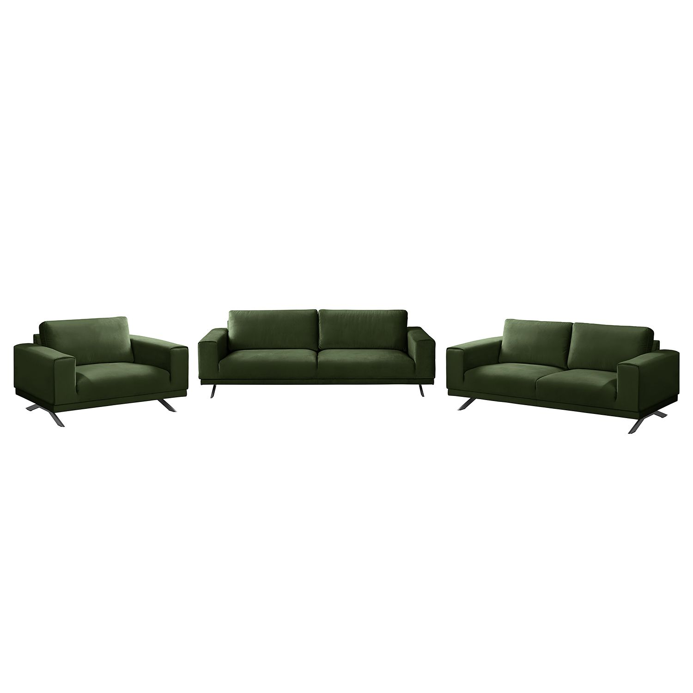 goedkoop Bankstellen Lorcy 3zitsbank 2zitsbank fauteuil fluweel Antiek groen Fredriks