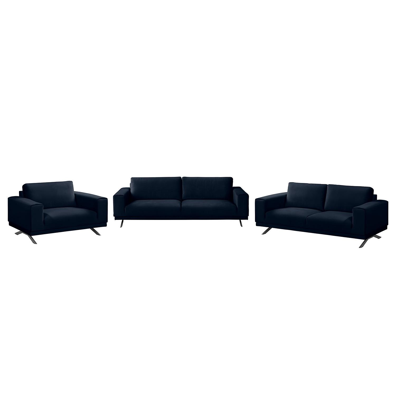 goedkoop Bankstellen Lorcy 3zitsbank 2zitsbank fauteuil fluweel Donkerblauw Fredriks