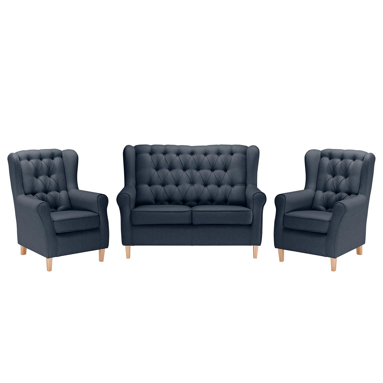 goedkoop Bankstellen Luro 2zitsbank fauteuil fauteuil structuurstof Donkerblauw Maison Belfort