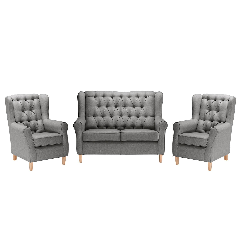 goedkoop Bankstellen Luro 2zitsbank fauteuil fauteuil structuurstof Grijs Maison Belfort