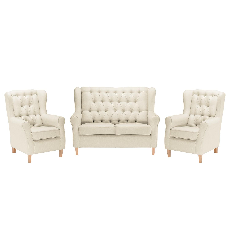 goedkoop Bankstellen Luro 2zitsbank fauteuil fauteuil structuurstof Licht beige Maison Belfort