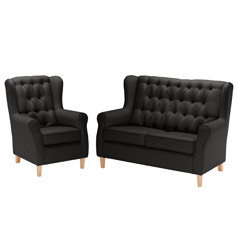 goedkoop Bankstellen Luro 2zitsbank fauteuil structuurstof Antraciet Maison Belfort