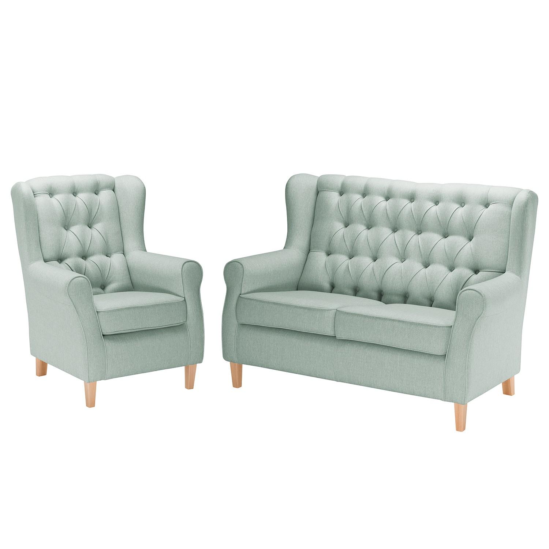 goedkoop Bankstellen Luro 2zitsbank fauteuil structuurstof Mintgrijs Maison Belfort