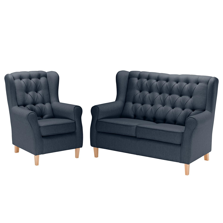 goedkoop Bankstellen Luro 2zitsbank fauteuil structuurstof Donkerblauw Maison Belfort