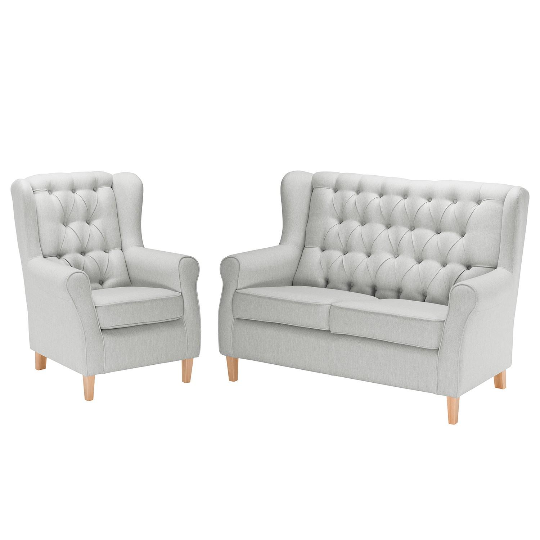 goedkoop Bankstellen Luro 2zitsbank fauteuil structuurstof Granietkleurig Maison Belfort