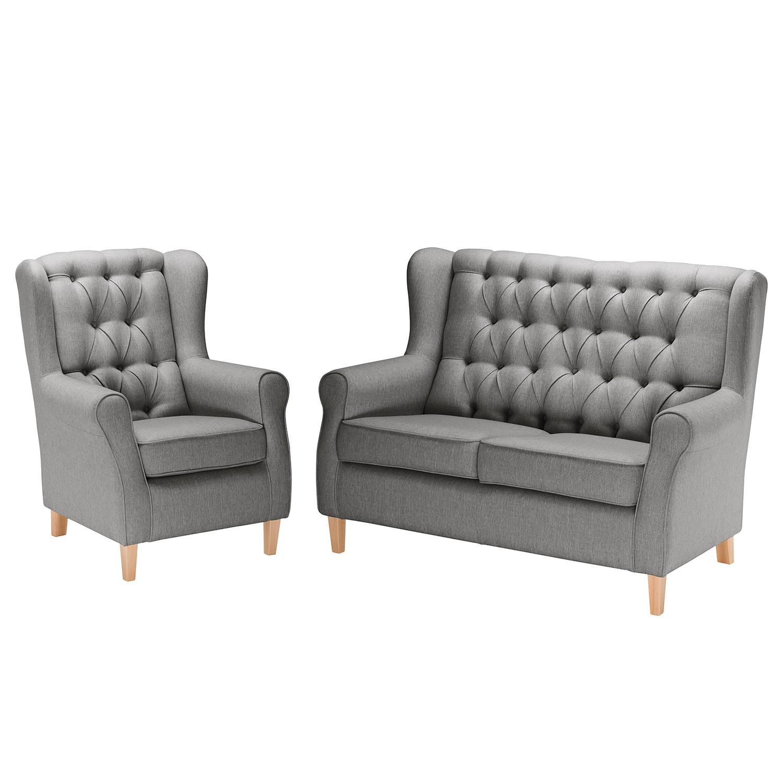 goedkoop Bankstellen Luro 2zitsbank fauteuil structuurstof Grijs Maison Belfort