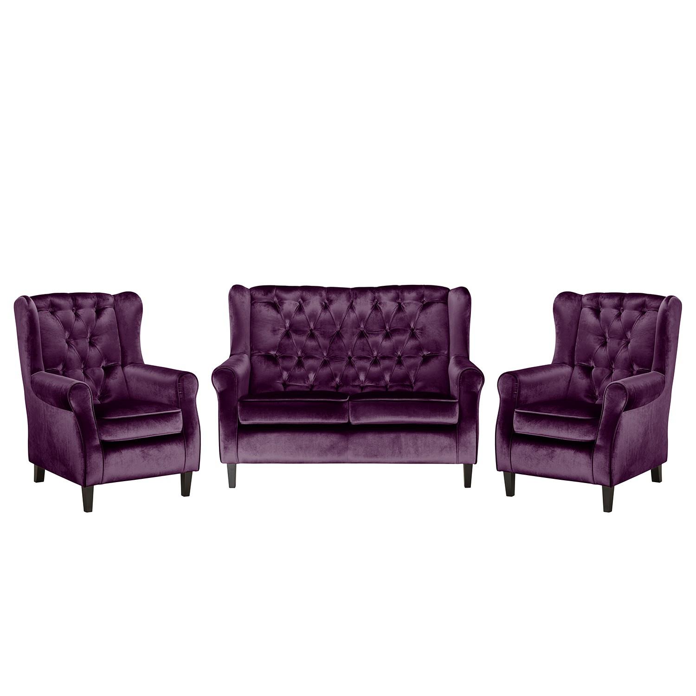 goedkoop Bankstellen Lorcy 2zitsbank fauteuil fauteuil fluweel Bessenkleurig Maison Belfort
