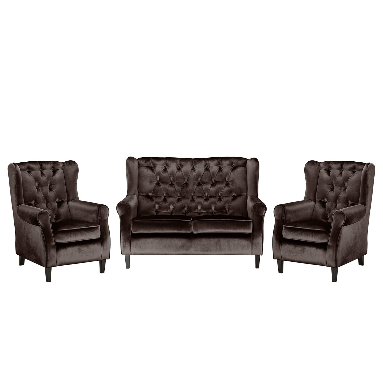 goedkoop Bankstellen Lorcy 2zitsbank fauteuil fauteuil fluweel Espressokleurig Maison Belfort